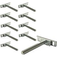 10 Stück - Wandregal Tablarträger Regal-Bodenträger Regalträger CLEVER aus Stahl | SW 10 x 100 mm | Fachboden-Träger verdeckt für Wandmontage | Möbelbeschläge von GedoTec®