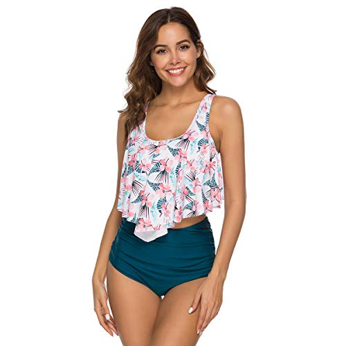NMQLX Maillots de Bain?Femme 2 PiššCes Feuille de Lotus Push Up Taille Haute Bikini Bandeau Fille Feuille Blanc Taille-38