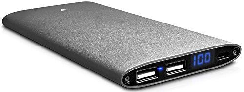 V7 PB10000P-4ES Ultraschlanke Aluminium Powerbank 10000 mAh externer Akku Lithium Polymer Smartcharge Technologie mit zwei USB-Anschlüssen 4.2A (je 2.1A pro Port)