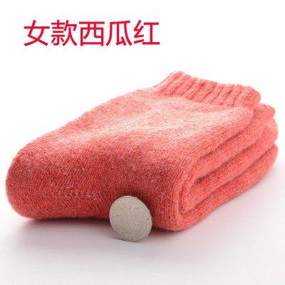 Extra dicke Socken_Herbst Winter dicke Socken Männer und der Männer socken Wolle und Kaschmir Kaschmir warm 90 g?2 Paar?, Mädchen - Wassermelone rot,