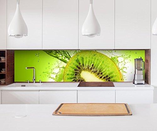 Aufkleber Küchenrückwand Kiwi Wasser Tropfen Obst Küche Folie selbstklebend Dekofolie Fliesen Möbelfolie Spritzschutz 22A062, Höhe x Länge:60cm x 250cm Wasser Folie Aufkleber