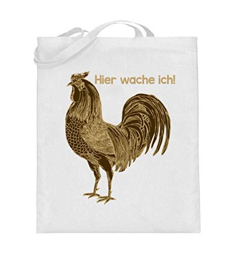 (Chorchester Hier Wache Ich für Hühner Fans - Jutebeutel (mit langen Henkeln))