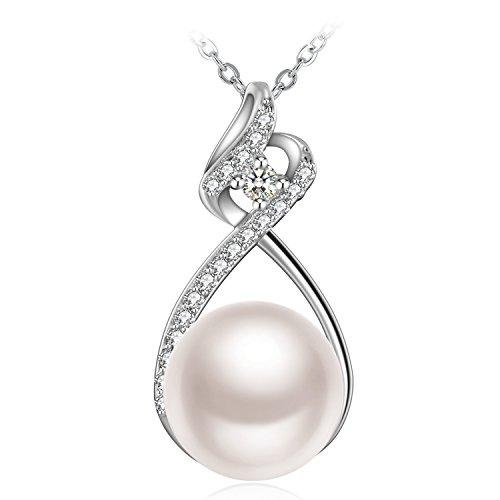 Kette Damen Muttertag Geschenk, ZHULERY Halskette Anhänger 925er Silber Zirkonia Süßwasserzuchtperle...