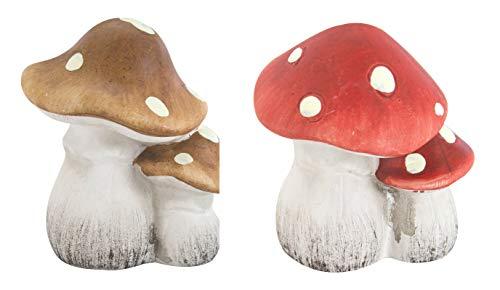 DARO DEKO Keramik Figur Pilze 2 Stück - Braun und Rot -