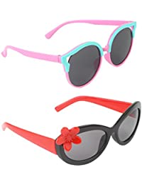 Stol'n Kids Flower And Round Sunglasses Combo Pack Of 2 Pieces Girls/Pink And Blue/Black And Red/Gift Pack