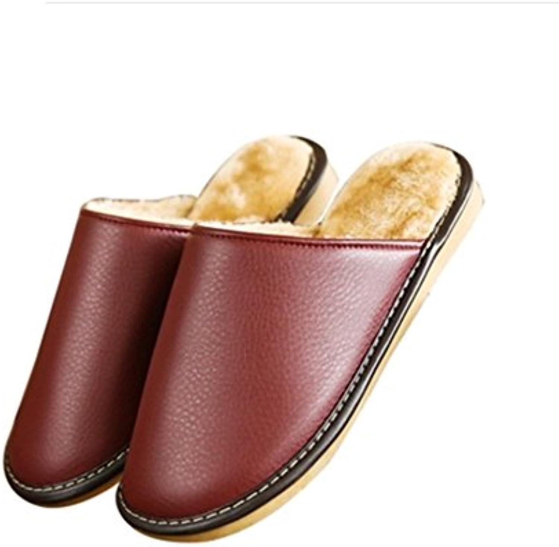 TELLW Frauen Herren Winter Baumwoll Pantoffeln Holzfußboden Paare Indoor Leder Pantoffeln