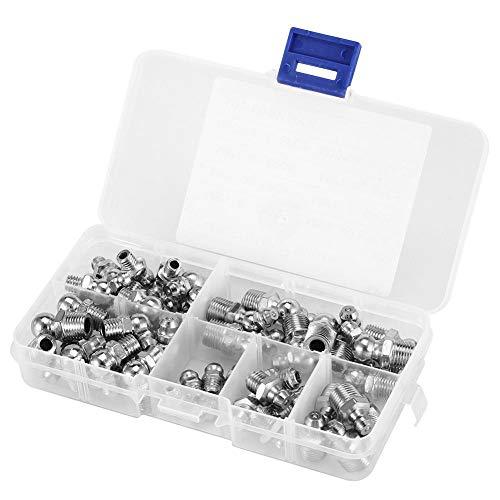 Hilitand 45Pcs M6 / M8 / M10 Kits d'assortiment de raccords de Mamelon de Graisse Zerk en Laiton Durable en métal (Argent)