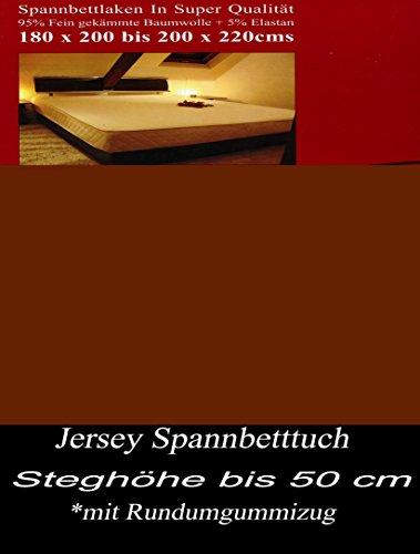 Leonado Vicenti Jersey Spannbettlaken für Wasserbett und Boxspringbett in allen Größen und vielen Farben wählbar aus 100% Baumwolle, Farbe Spannbettlaken:Braun, Maße:200 cm x 220 cm