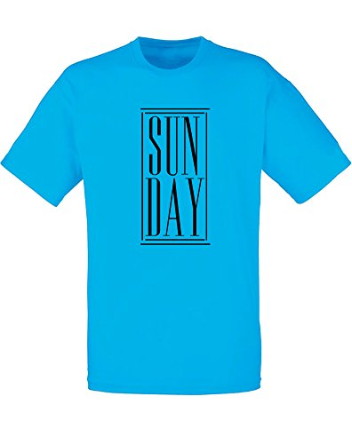 Brand88 - Brand88 - Sun Day, Mann Gedruckt T-Shirt Azurblau/Schwarz