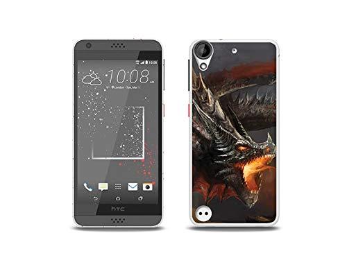 etuo Handyhülle für HTC Desire 530 - Hülle, Silikon, Gummi Schutzhülle - Böser Drache
