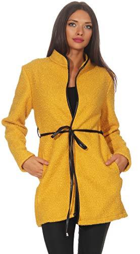 Mississhop 286 Damen eleganter Mantel Cardigan Trenchcoat mit Gürtel in Leder Optik Stehkragen Coat für die Übergangszeit Senf