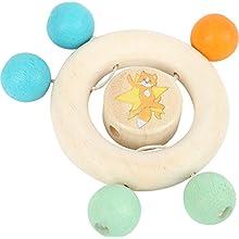 small foot 10655 Greifring Lex aus Holz, mit beweglichen Perlen in bunten Farben, speichelfest und TÜV-geprüft