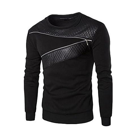 Sannysis Herren Winter Warm Spleißen Leder Sweatshirt Mantel Jacke Outwear (XXXXXL, Schwarz)