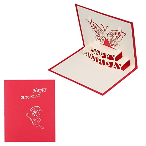 te Schmetterling Happy Birthday Grußkarten Einladungen handgefertigt Geschenk (# 063) ()