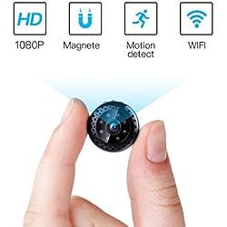 FREDI 1080P WiFi Caméra Espion Caméscope Cachée Mini Caméra sans Fil de Surveillance Intérieure Sécurité Vision Nocturne/ Détection de Mouvement IP Caméra de Sécurité Portable pour iPhone Android PC