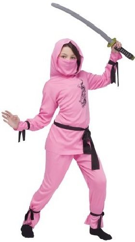 Fancy Me Mädchen 6- teiliges pink Japanisch Orientalische Ninja Halloween Kleid Kostüm Schuhe 4-12 Jahre - Rosa, Rosa, 7-9 Years (Japanische Mädchen Halloween-kostüm)
