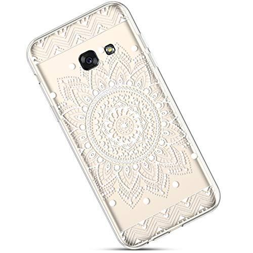 Felfy Funda Compatible con Galaxy A5 2017 Carcasa,Compatible con Funda Galaxy A5 2017 Transparente Silicona,Moda Pintado Patrón Ultra Delgado Anti-Arañazos TPU Case.Flor