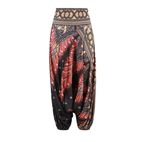 Leoboone Stylish Ethnic Style 3D Print India Belly Dance Pants Wide Leg Loose Casual Yoga Trousers Fashion Women Fitness Pants (Dance Wide Pants Leg)