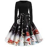 Vestito Natale Donna Abito Elegante Ragazza Bambina Vestiti 3D Stampa Cerimonia per Mamma e Figlia Gonna Sera Abiti Invernale Dress Principessa Costume Carnevale Natalizi Abbigliamento