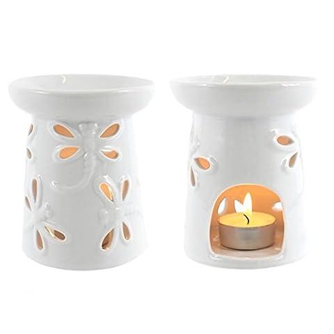 Libellule Brûleur à Huile en céramique Blanc 11cm?avec 1bougie chauffe-plat