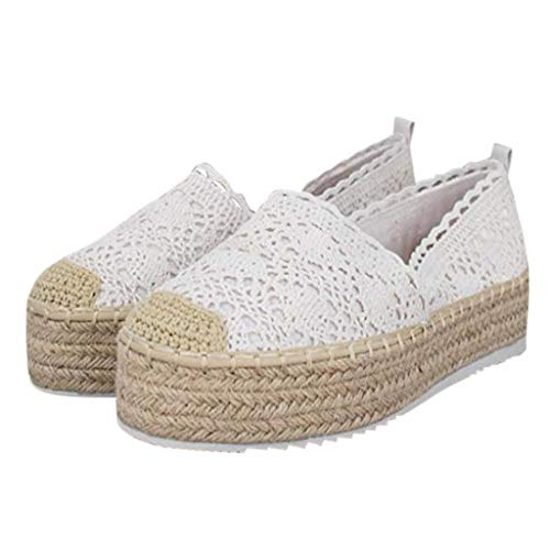 COZOCO Women's Hollow Platform Casual Shoes Solid Color Breathable Wedge Espadrilles Cover Heel Shoes(A-Weiß,36 EU)