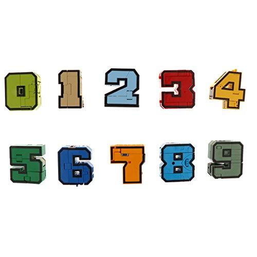 Sharplace 10 Pcs Set Di Numero Trasforma Robot Display Giochi Educativi Matematica Regalo Fantastico Plastica Multicolori