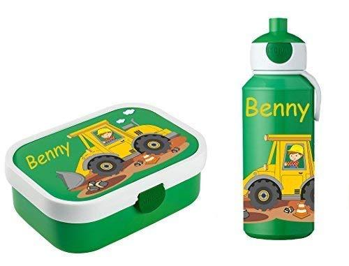 Mein Zwergenland Brotdose Mepal Campus mit Bento Box und Gabel und Trinkflasche Campus Pop-up mit eigenem Namen Baustelle (Grün)