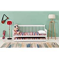 SHAKER STYLE WHITE 3FT SINGLE DAYBED WITH UNDER BED GUEST TRUNDLE COMES WITH 2 MEMORY FOAM MATTRESSES (WHITE SHAKER DAYBED, TRUNDLE & 2 MATTRESSES)