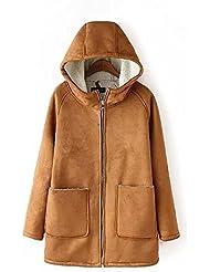 CU@EY Manteaux femmes / couleur unie capuche manteau / agneau manteau de peau de daim de laine
