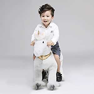 UFREE Horse Action Pony, Walking Horse Toy, Rocking Horse with Wheels Giddy up Ride on for Kids Aged 3 to 5 Years Old, Unicorn with Golden Horn