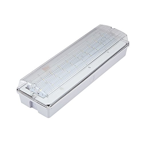 Biard 4W LED Rectangular IP65 Emergency Bulkhead Light - Maintained/Non-Maintained - Commercial Safety Waterproof Lighting for Warehouses both Indoors or Outdoors with 3 Hour Battery Backup