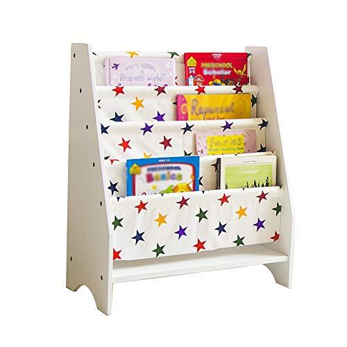 KISlink Kinder Bücherregal Einfache 4-Schicht-bodenrahmen Cartoon Bücher Leinwand Zeitungsständer Weiß Größe 58 * 30 * 71 cm ++ (Farbe: 1#) -