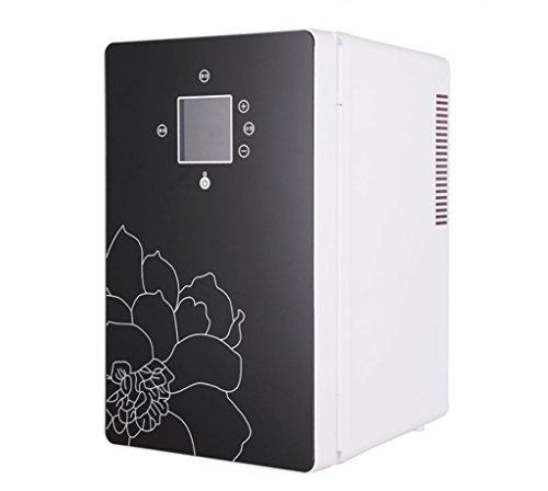 AMYMGLL Réfrigérateur de voiture/16L Dual-Core Mini Réfrigérateur Réfrigéré/Réfrigérateur Portable Maison, 220V/12V, avec Écran, Noir/Bleu, Noir