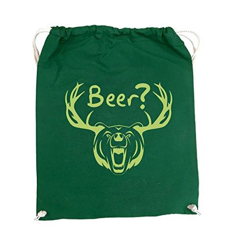 Borse Comiche - Birra? - Orso Antlers - Turn Bag - 37x46cm - Colore: Nero / Argento Verde / Verde