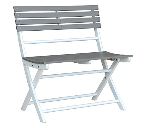 Dehner Klappbank Ahaus, 2-Sitzer, ca. 82 x 80 x 53.5 cm, FSC Akazienholz, grau/weiß