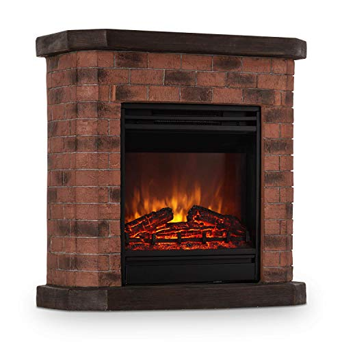 Klarstein Villach • Elektrischer Kamin • Elektro-Kamin • Kamin elektrisch • 1800 Watt • Flammeneffekt • Steindekor • Polystone • Fernbedienung • rot-braun