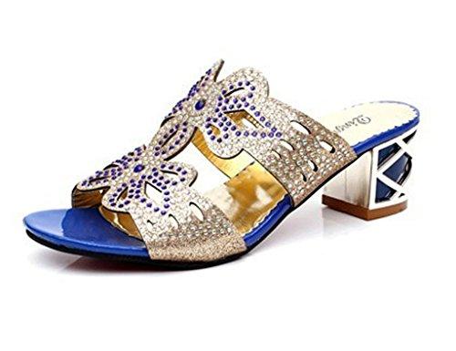 Minetom Donne Moda Elegante Estate Pantofole Finto Strass Fiore Farfalla Sandali Peep Toe Pantofol Blu A 37