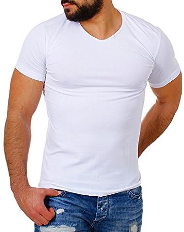 Young & Rich Herren V-Ausschnitt T-Shirt einfarbig slimfit mit Stretchanteilen Uni Basic V-Neck Tee, Grösse:L;Farbe:Weiß