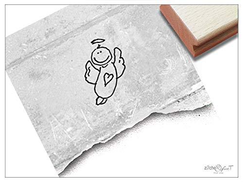 Stempel Motivstempel Schutzengel, Engel - Bildstempel zur Geburt für Karten Deko, Kinderstempel Kita Kinderzimmer Schule Basteln - zAcheR-fineT (klein ca. 13 x 20 mm)