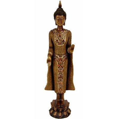 Oriental Furniture Graduation 2011 Best Gift Ideas for Him or Her, 19-Inch Large Standing Thai Style Buddha Statue Figure with Wish Granting Mudra