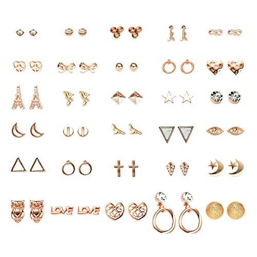 1 - FENICAL Ear Stud Pendientes pequeños y Frescos con Forma de Estrella Animal en Forma de Estrella Anillos de Orejas con 30 Pares