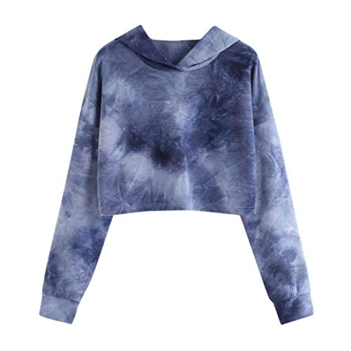 Iuhan Hoodies Tops Teen Tie Dye Hoodie Crop Top Cozy Long Sleeve Hooded Pullover Tops M Dark Blue