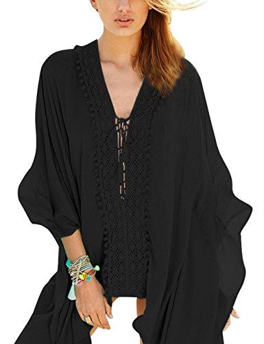 Walant Damen Strandkleid Einheit Größe Kleidung Strand Hemdkleid V-Ausschnitt Rock X-Schwarz
