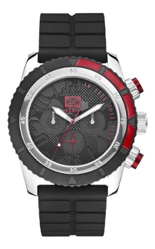 Marc Ecko Unisex Quartz Watch with Black Dial Analogue Display and Black Silicone Strap E16525G1