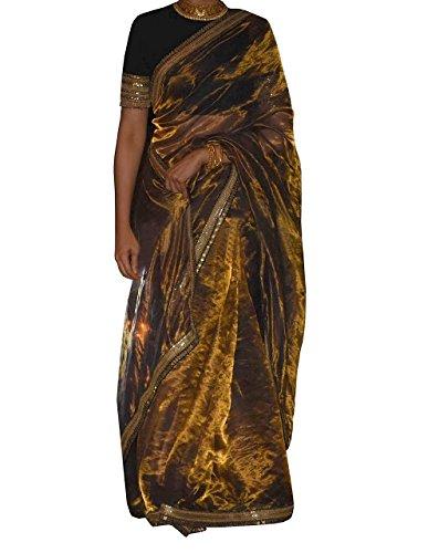 Kreckon Women's Tissue Silk Saree With Blouse Piece(KRPBT-161_Beige)