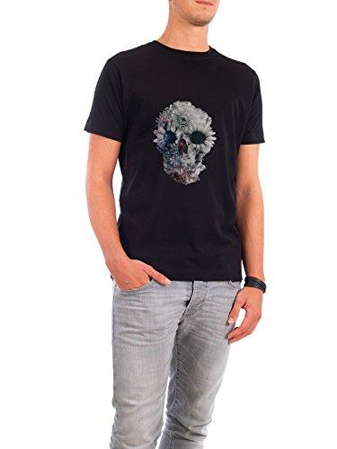 """Design T-Shirt Männer Continental Cotton """"Floral Skull 2"""" - stylisches Shirt Floral Natur von Ali GÜLEÇ Schwarz"""