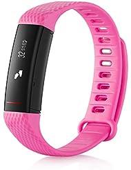 GLCON Fitness Tracker, pulsera inteligente actividad pulsera podómetro Fitness Monitor de frecuencia cardiaca MSM/llamada recordatorio información Push muñequera inteligente con OLED Pantalla táctil Bluetooth 4.0Resistente al agua Monitor de sueño para android y IOS Smartphones
