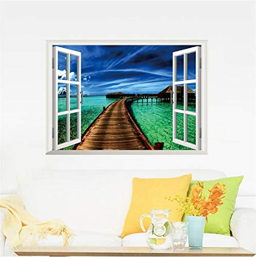 Fantastische 3D Fenster Raum Landschaft Schloss Meer Wandaufkleber Für Hauptdekorationen Wohnzimmer Schlafzimmer Festival Decals Mural Arts (Fantastischen Vier Decal)