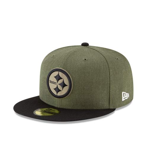 New Era Pittsburgh Steelers On Field 18 Salute to Service Cap 59fifty 5950 Fitted Limited Edition, Green, 7 1/8 - 57cm (M)