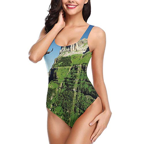 Swimming Costume for Women One Piece, Wild Majestic Bird Flying Great Landscapes Green Mountains Forest Nature Image,Round Neck Swimsuit Beach SwimwearXL